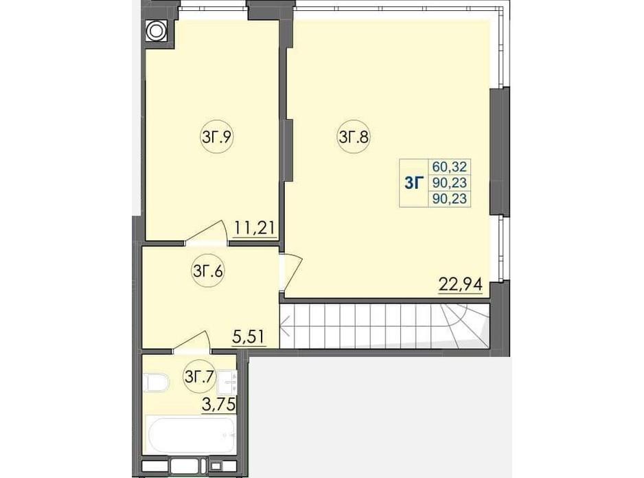 Планування багаторівневої квартири в ЖК Panorama 90.23 м², фото 204239