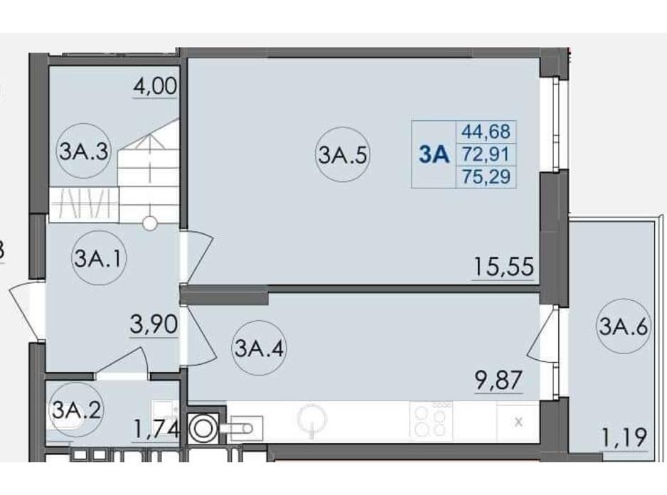 Планування багаторівневої квартири в ЖК Panorama 75.29 м², фото 204240