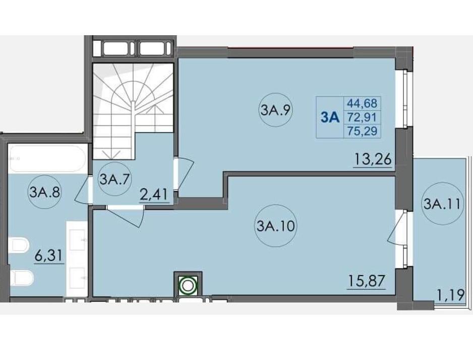 Планування багаторівневої квартири в ЖК Panorama 75.29 м², фото 204241