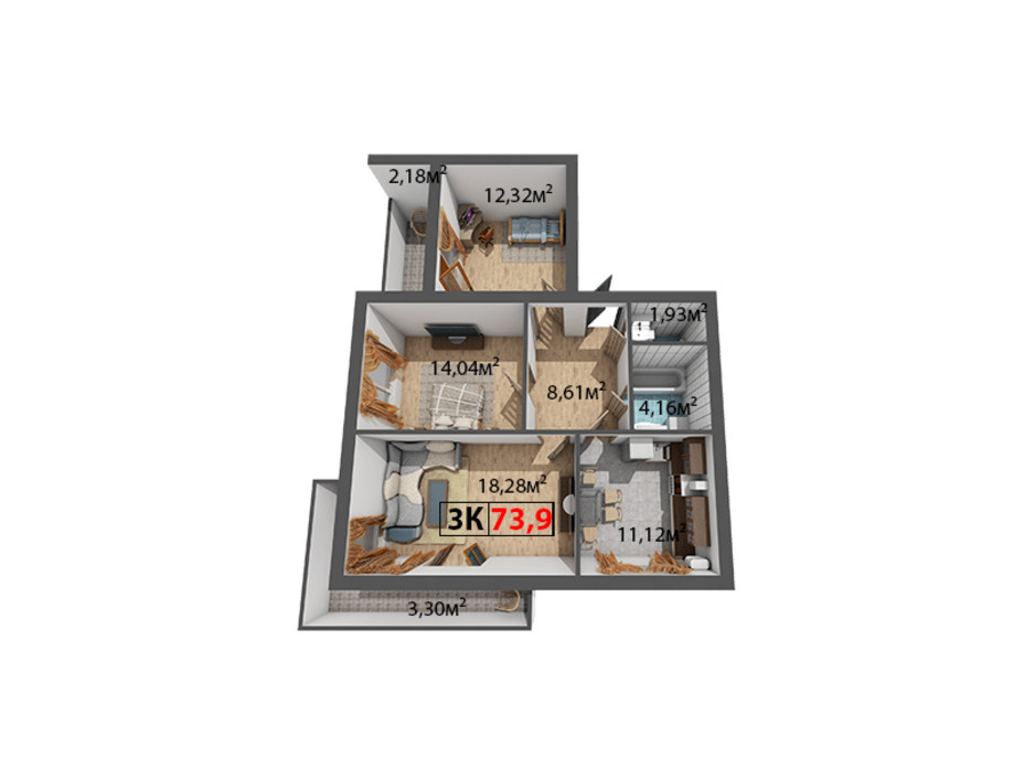 Планування 3-кімнатної квартири в ЖК Стожари 73.9 м², фото 204371