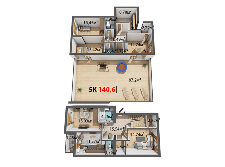 Планування 5-кімнатної квартири в ЖК Стожари 140.6 м², фото 204374