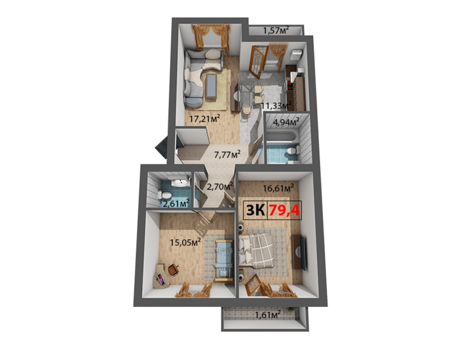Планування 3-кімнатної квартири в ЖК Стожари 79.4 м², фото 204376