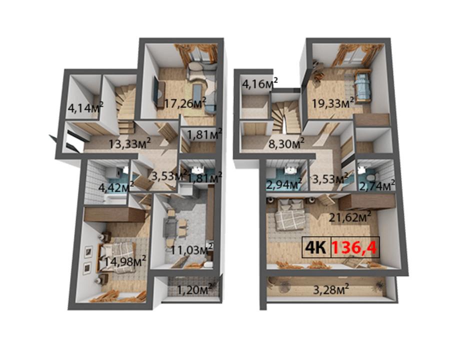 Планировка 4-комнатной квартиры в ЖК Стожары 136.4 м², фото 204378