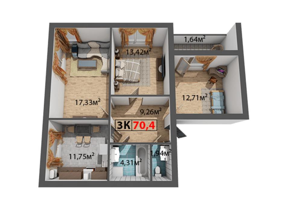 Планування 3-кімнатної квартири в ЖК Стожари 70.4 м², фото 204379