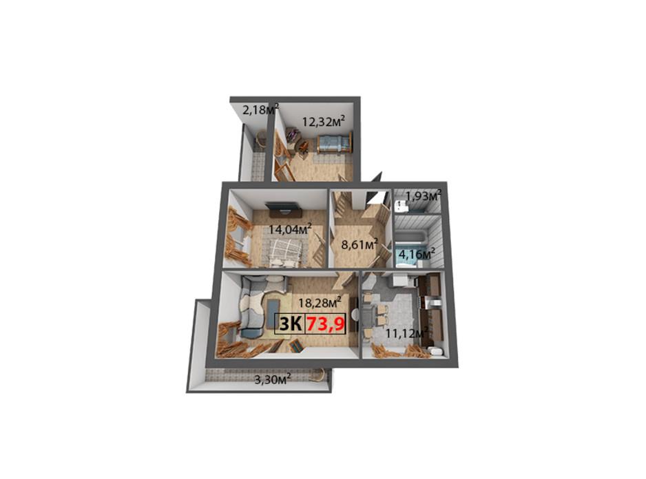 Планування 3-кімнатної квартири в ЖК Стожари 73.9 м², фото 204382