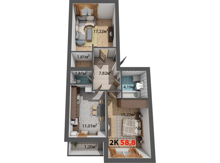 Планування 2-кімнатної квартири в ЖК Стожари 58.8 м², фото 204384