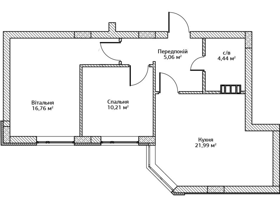 Планировка 2-комнатной квартиры в ЖК City Park 2 (Сити Парк 2) 58.9 м², фото 204532