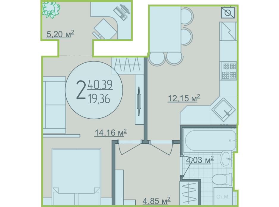 Планування 1-кімнатної квартири в ЖК Кемпінг Сіті 40.39 м², фото 204638