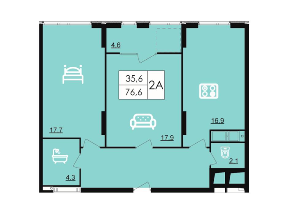 Планування 2-кімнатної квартири в ЖК Лісопарковий 76.6 м², фото 204836