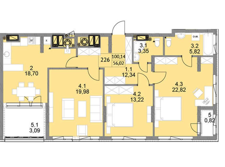 Планировка 3-комнатной квартиры в ЖК Яркий Львов 105 м², фото 204867