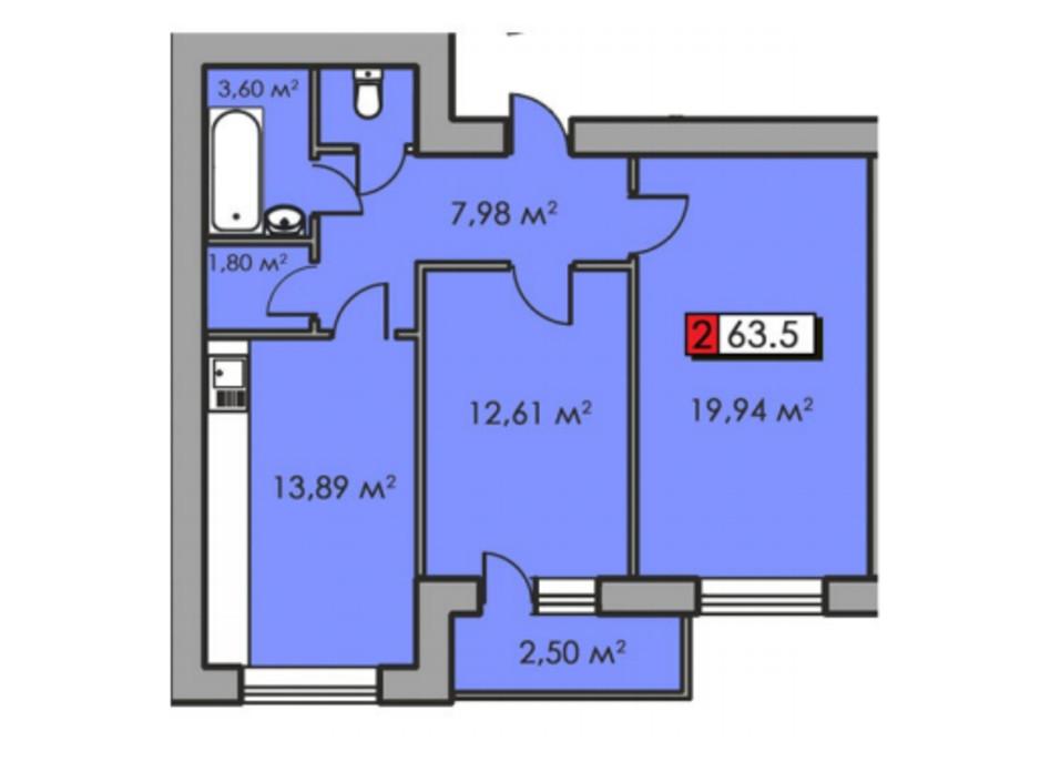 Планировка 2-комнатной квартиры в ЖК Парковый квартал 63.5 м², фото 204949