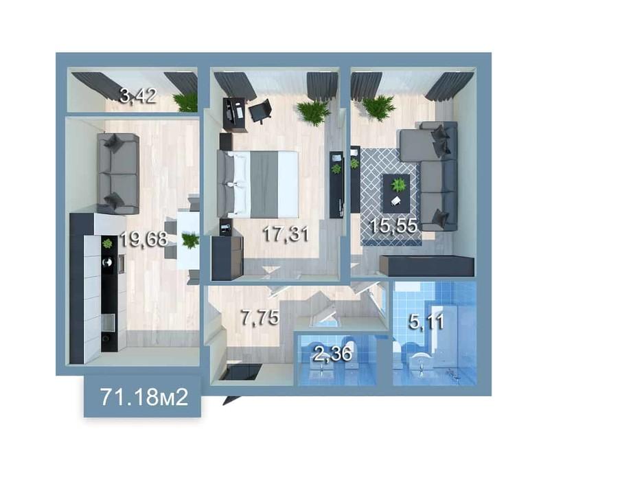 Планировка 2-комнатной квартиры в ЖК Star City 71.18 м², фото 205243