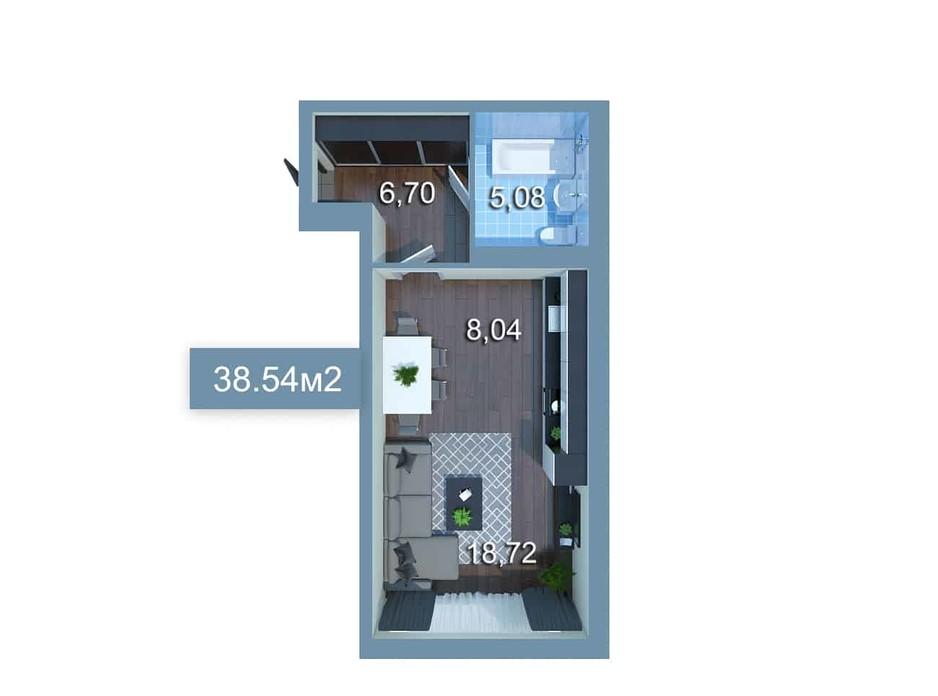 Планировка 1-комнатной квартиры в ЖК Star City 38.54 м², фото 205273