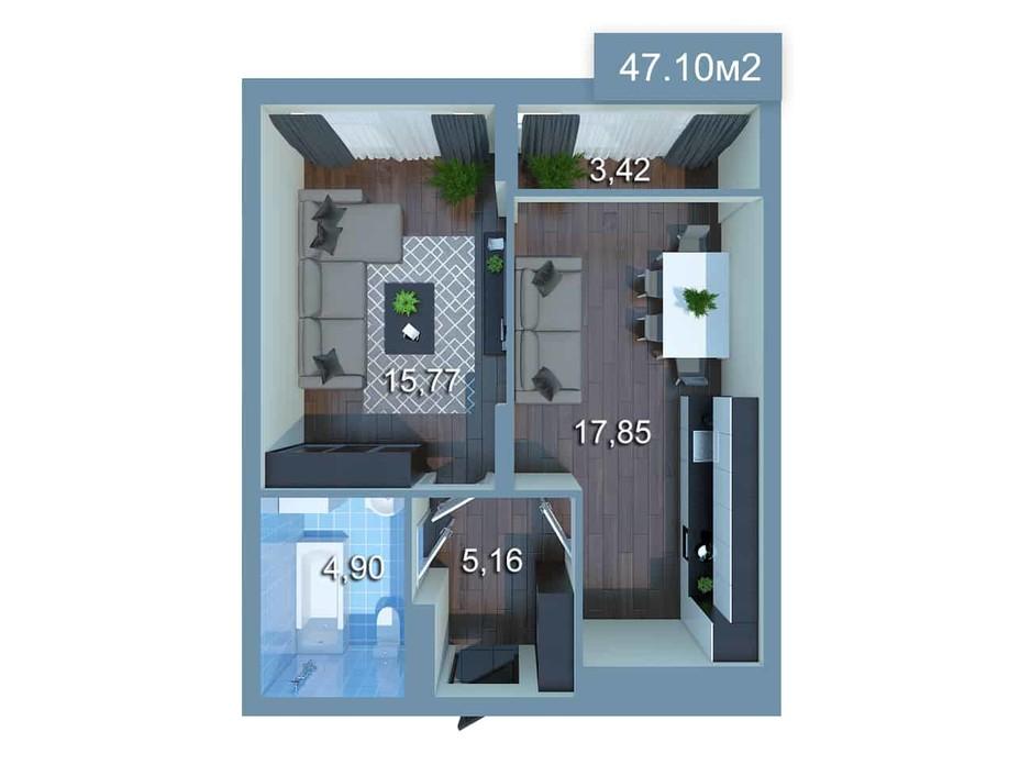 Планировка 1-комнатной квартиры в ЖК Star City 47.1 м², фото 205286