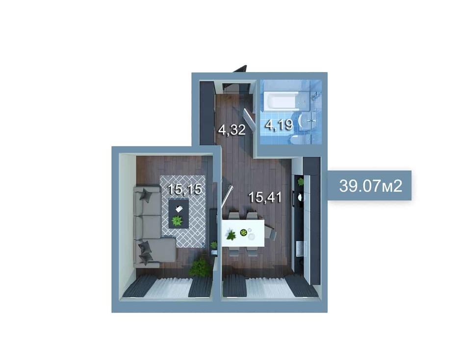 Планировка 1-комнатной квартиры в ЖК Star City 39.07 м², фото 205344
