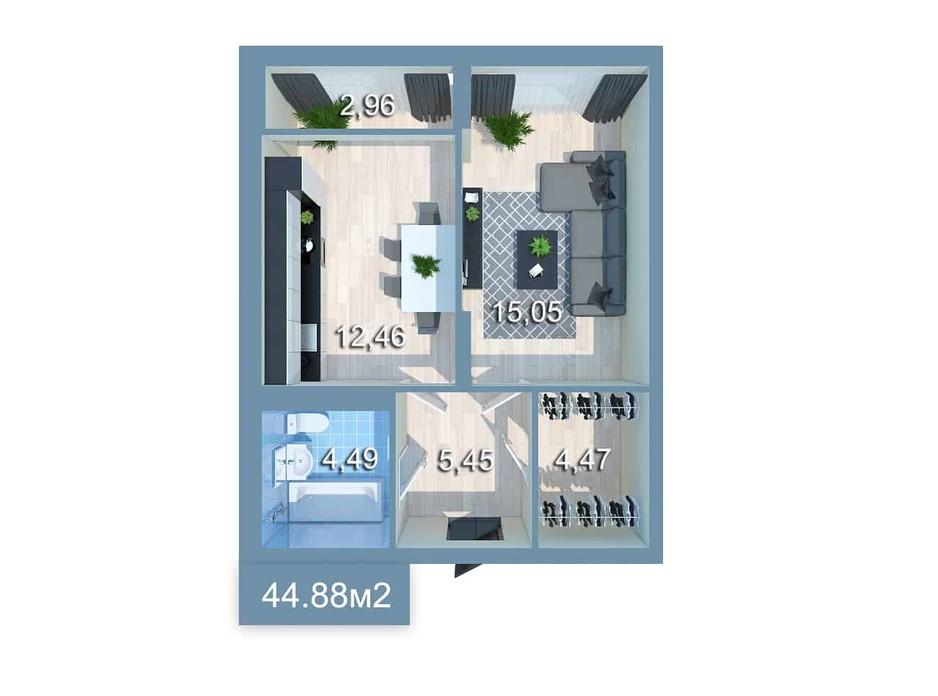 Планировка 1-комнатной квартиры в ЖК Star City 44.88 м², фото 205347