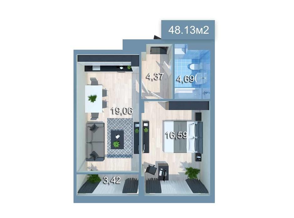 Планировка 1-комнатной квартиры в ЖК Star City 48.94 м², фото 205383