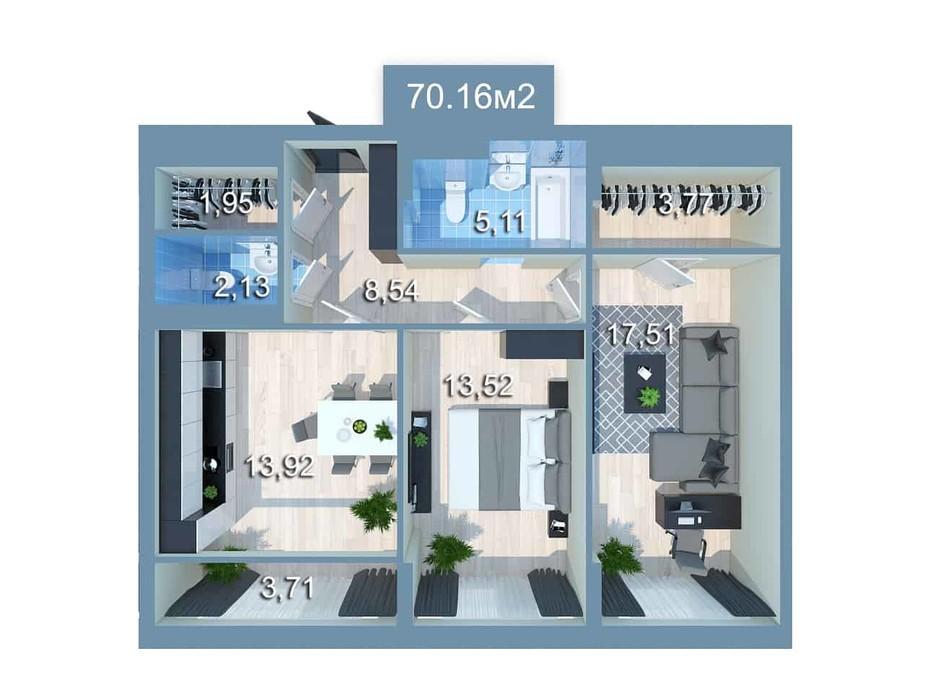 Планировка 2-комнатной квартиры в ЖК Star City 70.8 м², фото 205525
