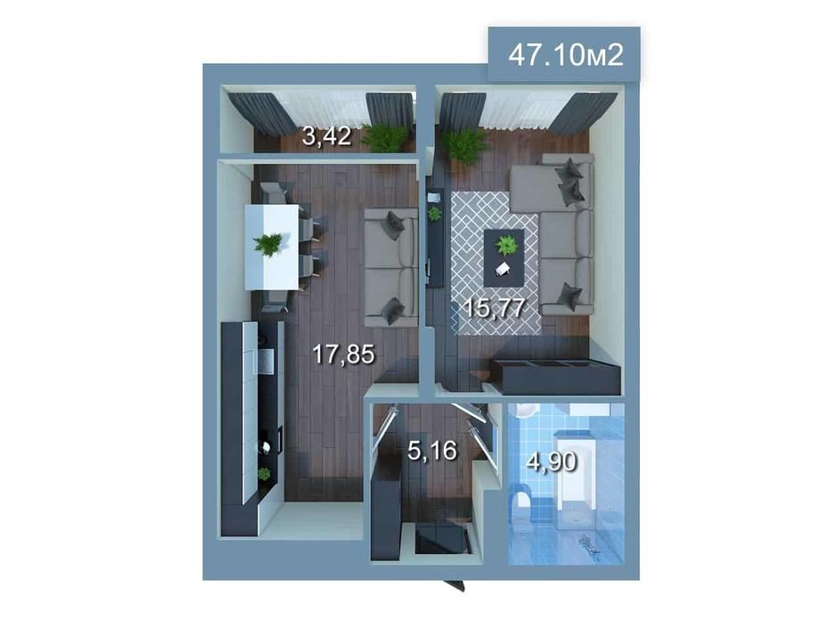 Планировка 1-комнатной квартиры в ЖК Star City 46.69 м², фото 205532