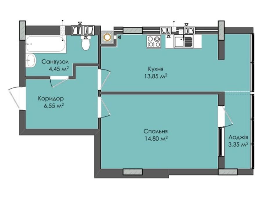 Планировка 1-комнатной квартиры в ЖК Комфорт Плюс 43.7 м², фото 205541