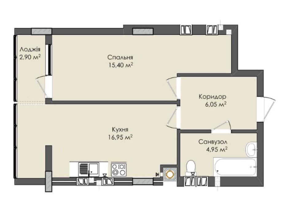 Планировка 1-комнатной квартиры в ЖК Комфорт Плюс 47 м², фото 205566