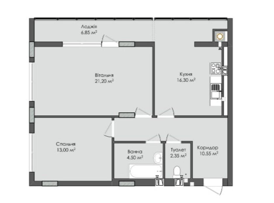 Планування 2-кімнатної квартири в ЖК Комфорт Плюс 74.75 м², фото 205569