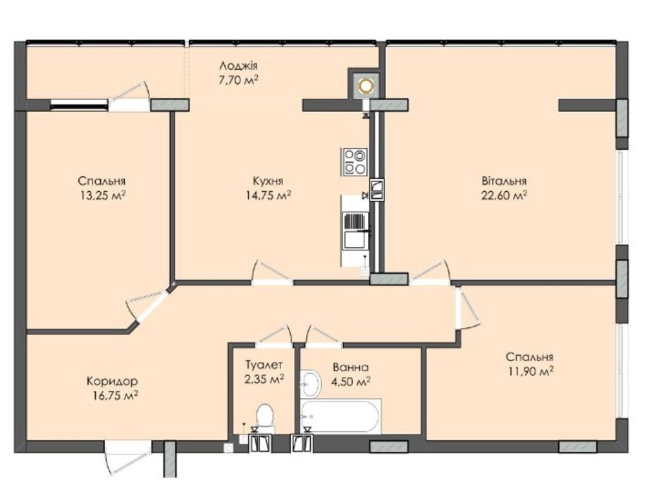 Планировка 3-комнатной квартиры в ЖК Комфорт Плюс 93.8 м², фото 205571