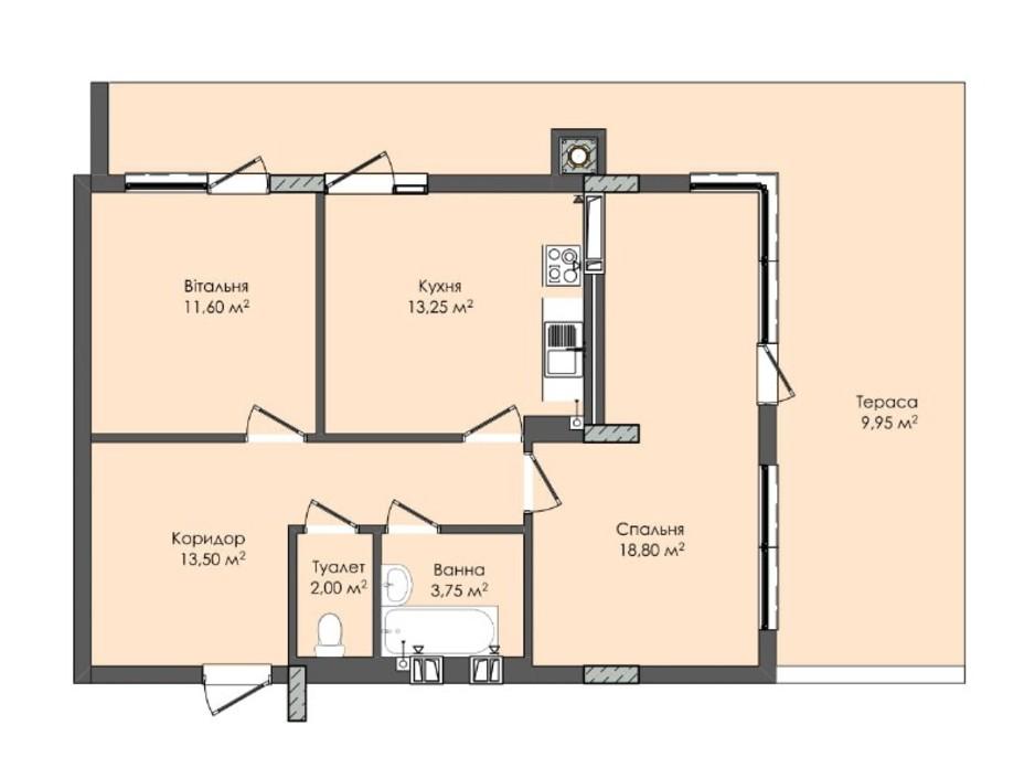 Планировка 2-комнатной квартиры в ЖК Комфорт Плюс 72.85 м², фото 205572