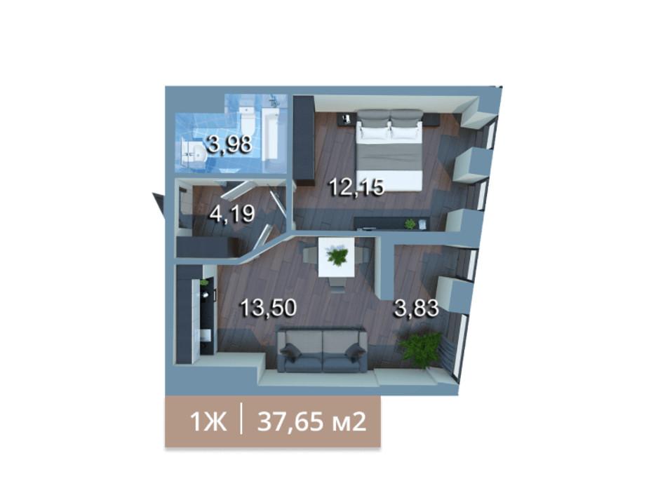 Планировка 1-комнатной квартиры в ЖК Вежа на Ломоносова 37.73 м², фото 205575