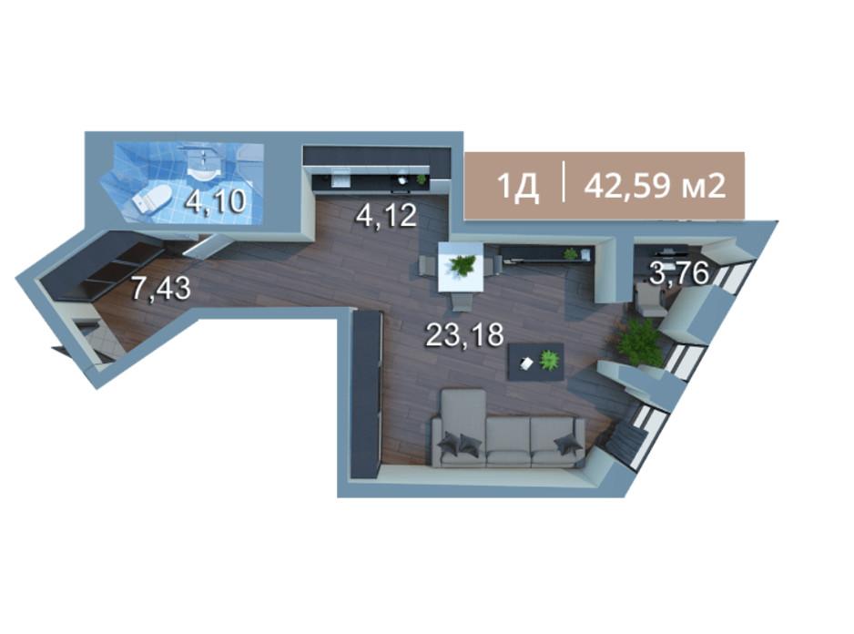 Планировка 1-комнатной квартиры в ЖК Вежа на Ломоносова 42.34 м², фото 205577