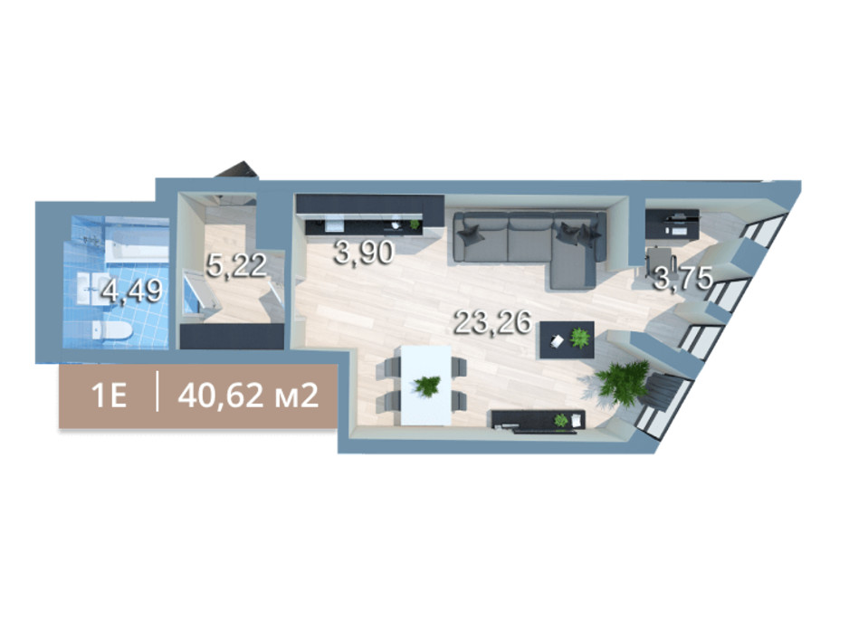 Планування 1-кімнатної квартири в ЖК Вежа на Ломоносова 41.72 м², фото 205578