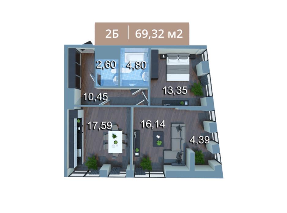 Планировка 2-комнатной квартиры в ЖК Вежа на Ломоносова 69.32 м², фото 205583