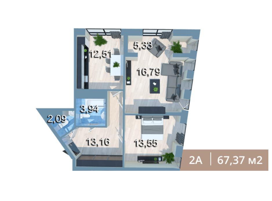 Планировка 2-комнатной квартиры в ЖК Вежа на Ломоносова 67.37 м², фото 205584