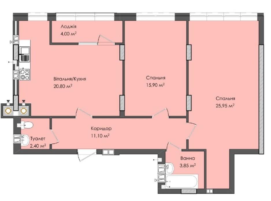 Планировка 2-комнатной квартиры в ЖК Комфорт Плюс 84 м², фото 205586