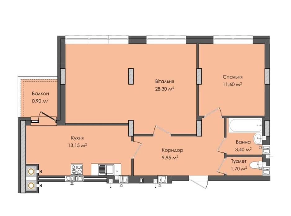 Планировка 2-комнатной квартиры в ЖК Комфорт Плюс 69 м², фото 205587
