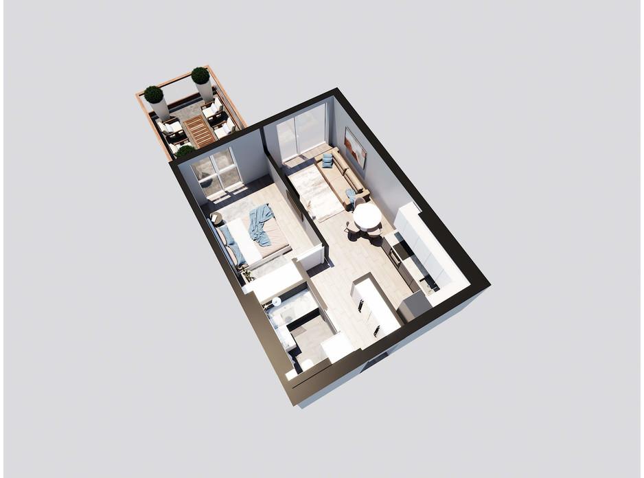 Планировка 1-комнатной квартиры в ЖК Янтарный 47.05 м², фото 205749