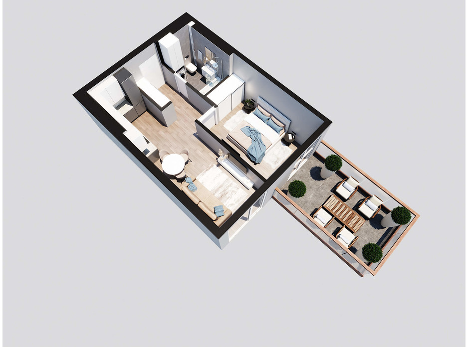 Планировка 1-комнатной квартиры в ЖК Янтарный 47.05 м², фото 205750