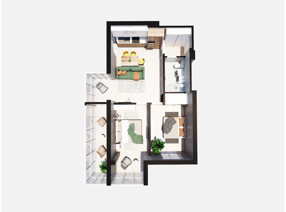 Планировка 2-комнатной квартиры в ЖК Янтарный 70.18 м², фото 205765