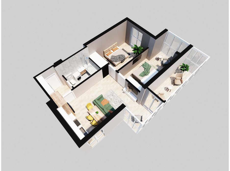 Планировка 2-комнатной квартиры в ЖК Янтарный 70.18 м², фото 205767