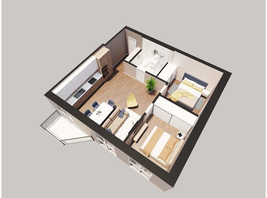 Планировка 2-комнатной квартиры в ЖК Янтарный 63.22 м², фото 205774