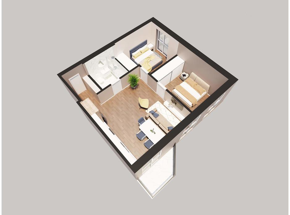 Планировка 2-комнатной квартиры в ЖК Янтарный 63.22 м², фото 205775