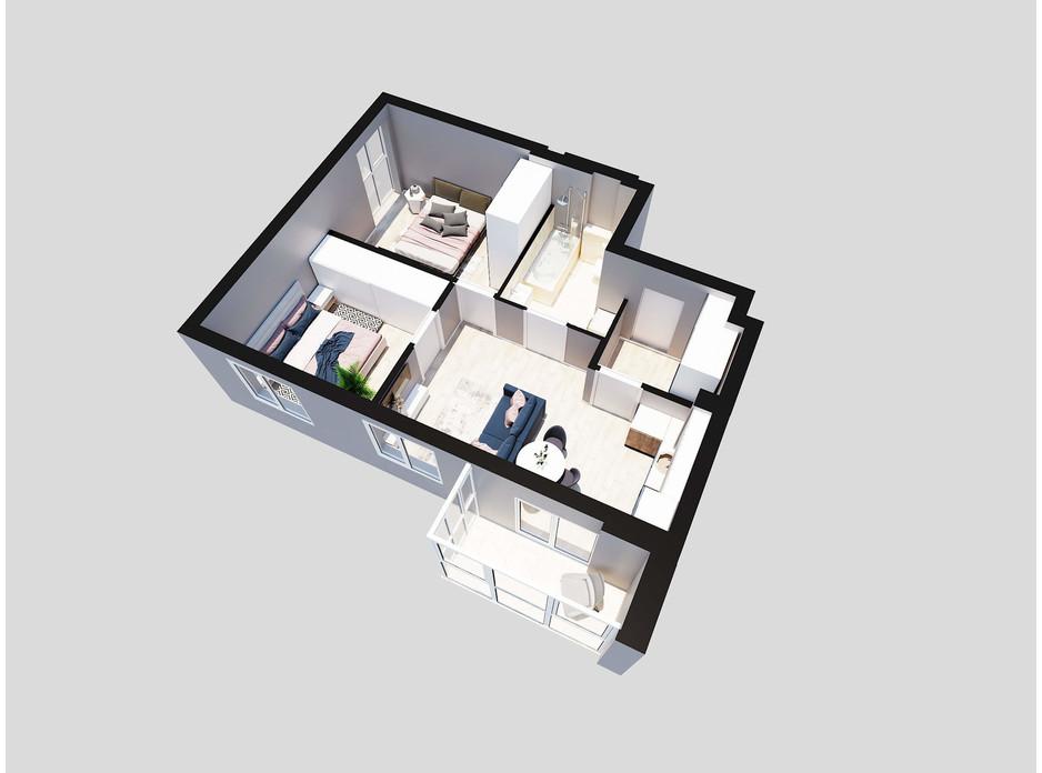 Планировка 2-комнатной квартиры в ЖК Янтарный 54.8 м², фото 205776