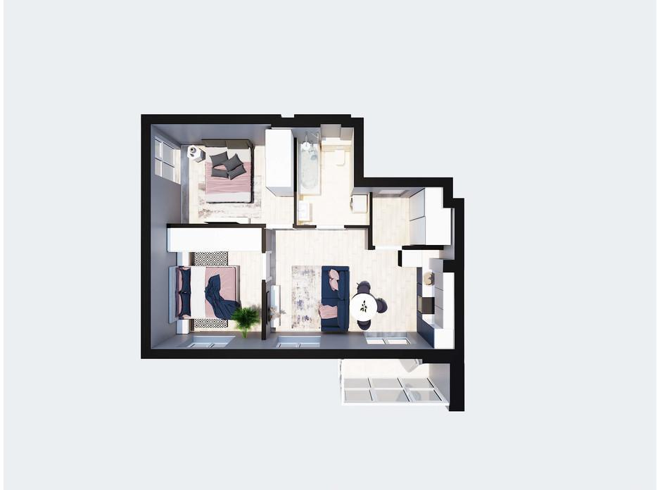 Планировка 2-комнатной квартиры в ЖК Янтарный 54.8 м², фото 205778