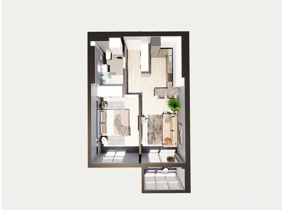 Планировка 1-комнатной квартиры в ЖК Янтарный 46.35 м², фото 205782