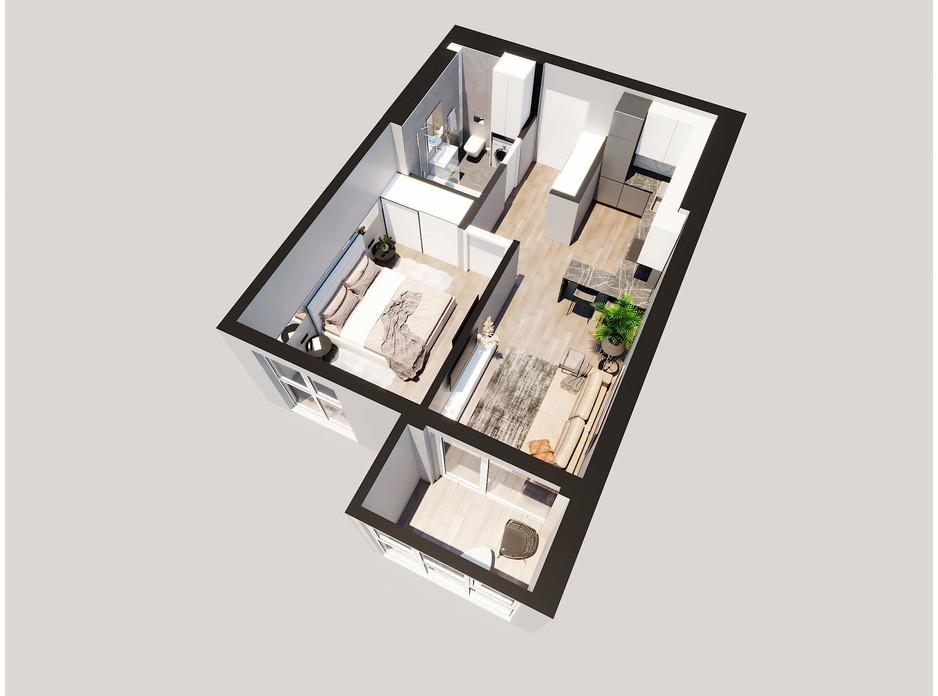 Планировка 1-комнатной квартиры в ЖК Янтарный 46.35 м², фото 205783