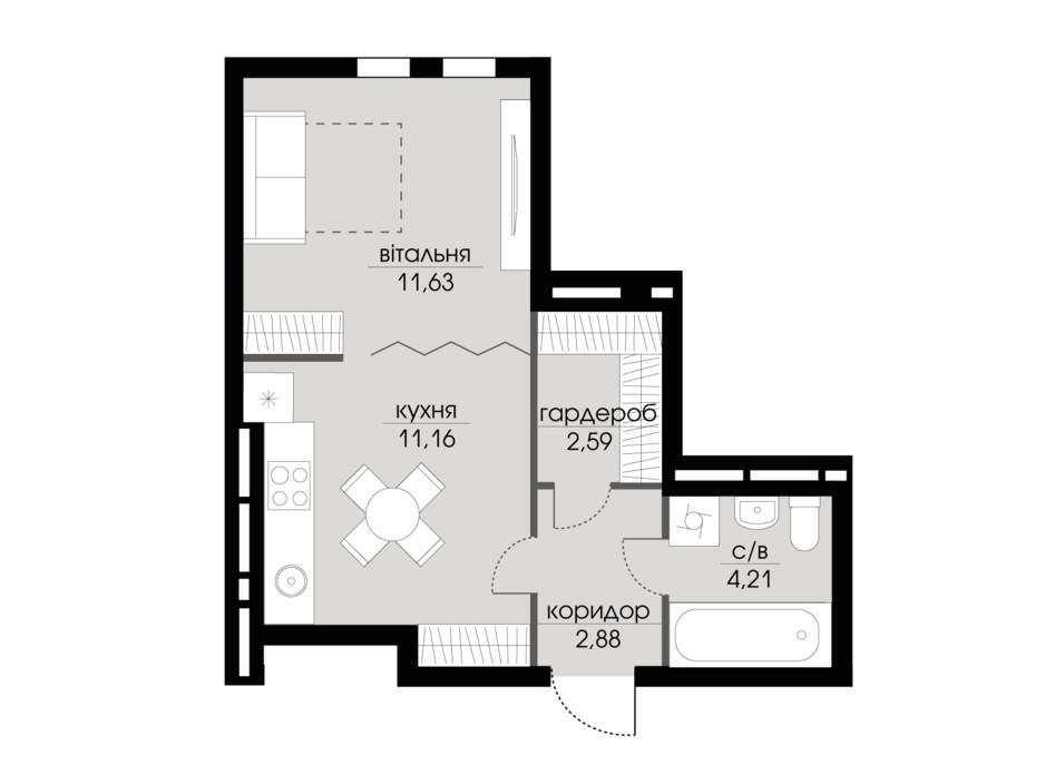 Планировка 1-комнатной квартиры в ЖК Echo Park 2 32.47 м², фото 205796