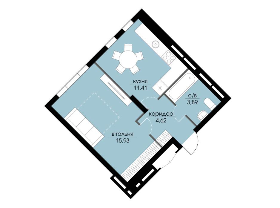 Планировка 1-комнатной квартиры в ЖК Echo Park 2 35.87 м², фото 205797