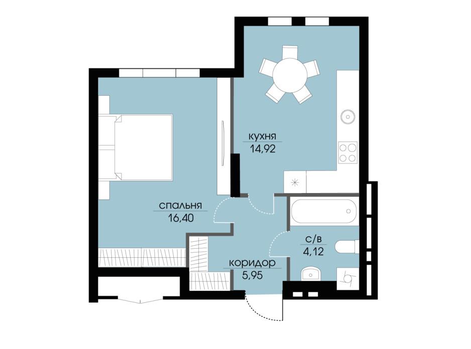 Планировка 1-комнатной квартиры в ЖК Echo Park 2 41.39 м², фото 205798