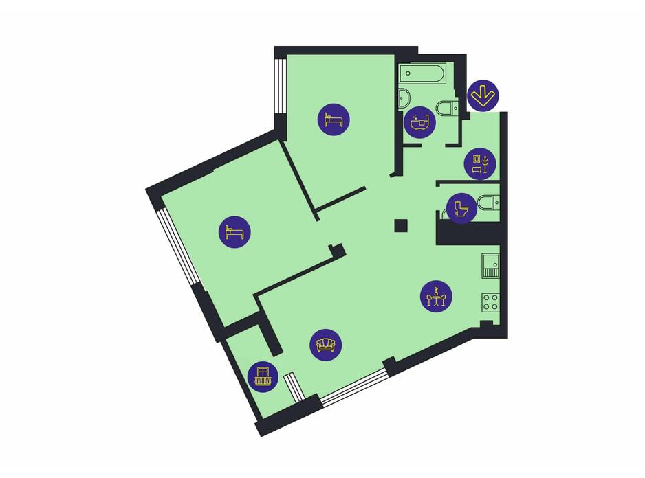 Планування 2-кімнатної квартири в ЖК Новопечерська Вежа 82.7 м², фото 205806