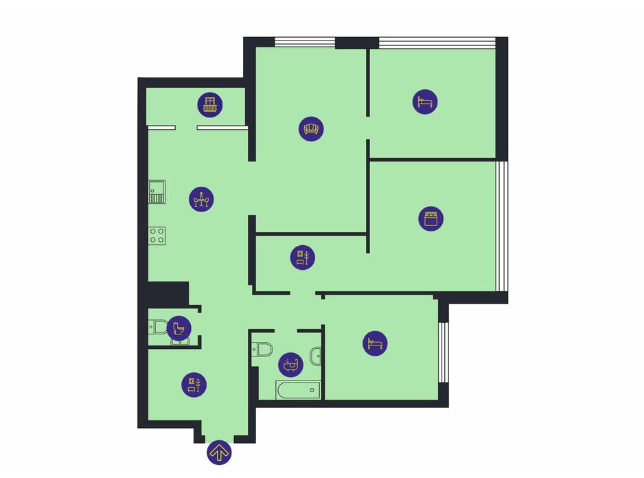 Планировка 4-комнатной квартиры в ЖК Новопечерська Вежа 133.8 м², фото 205931
